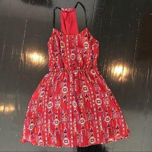 Forever 21 Aztec Print Burgundy Dress